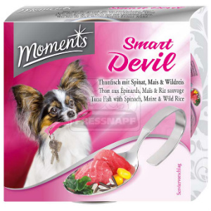 Moments Smart devil kutyakonzerv tonhal+spenót+kukorica+vadrizs 125g