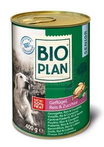 BIOplan konzerv idős kutyáknak - baromfihús+rizs+cukkini 400g
