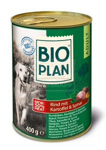 BIOplan konzerv felnőtt kutyáknak - marha+burgonya+spenót 400g