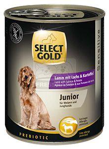 SELECT GOLD junior kutyakonzerv bárány+lazac 800g