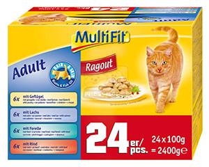 MultiFit ragu cica tasakos eledel hair+skin multipack 24x100g