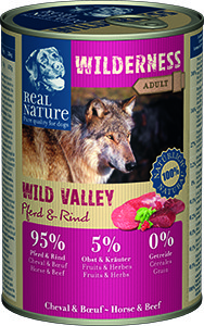 Real Nature Wilderness kutyakonzerv ló és marha 400g