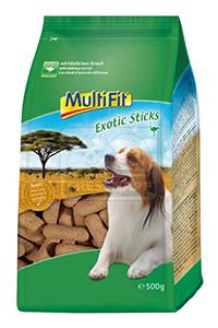 MultiFit Exotic sticks kutyáknak struccal 500g
