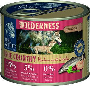 Real Nature Wilderness junior kutyakonzerv csirke és lazac 200g