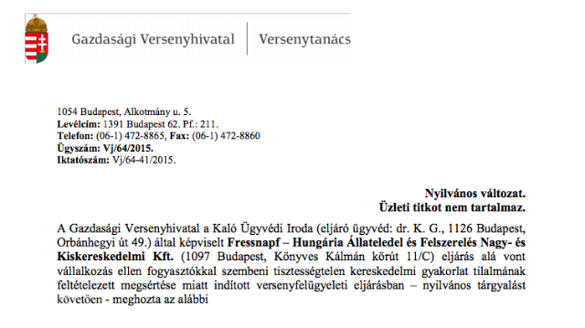 GVH határozat (Vj-64/2015/41)